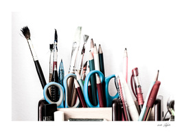 Pens, pencils, brushes and others