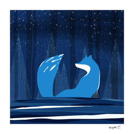 Wintery Blue Forest FOX Design