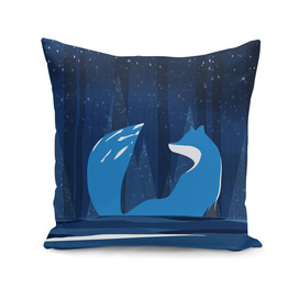 Wintery Blue Forest FOX Design