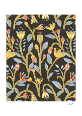 Dark Garden Floral Pattern