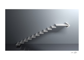 Stairs going up with arrow to right - 3D rendering