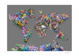 world map skull flowers