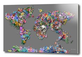 world map skull flowers
