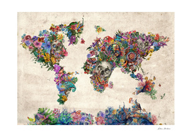 world map skull flowers 2