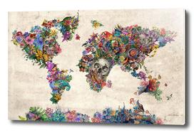 world map skull flowers 2