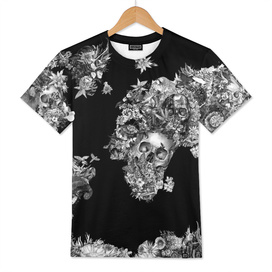 world map skull flowers 3