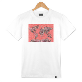 world map tropical flowers red