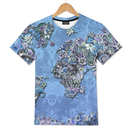 world map tropical flowers blue
