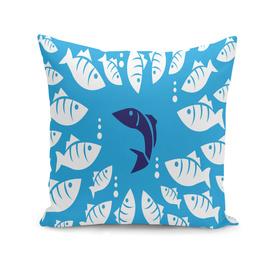 Blue Fish tuna sea beach swim white predator water