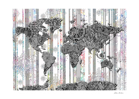 world map mandala grey