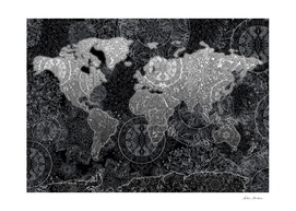 world map mandala black and white