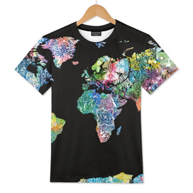 world map mandala black