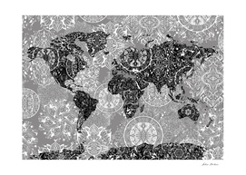 world map mandala grey 2