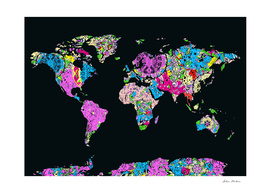 world map mandala black 3