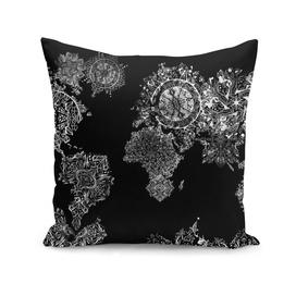 world map mandala black and white 2