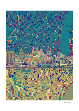 philadelphia city skyline map green