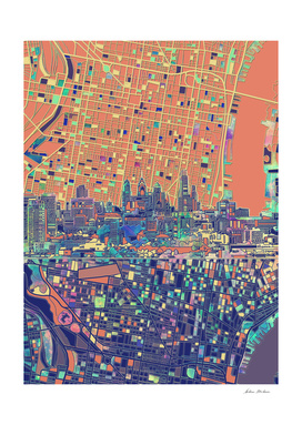 philadelphia city skyline map orange