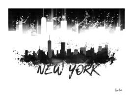 Graphic Art NYC Skyline Splashes | black