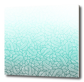 Gradient teal blue and white swirls doodle