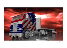 American truck under a stormy sky