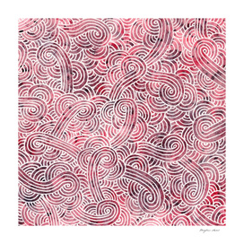 Burgundy red and white swirls doodle