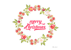 Merry Christmas Typography Christmas Berries Wreath