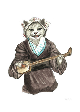 A Singing Cat Playing Samisen