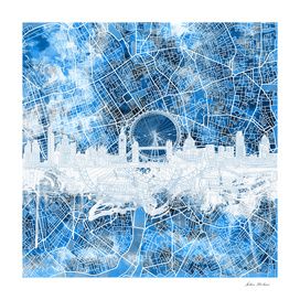 london city skyline abstract blue