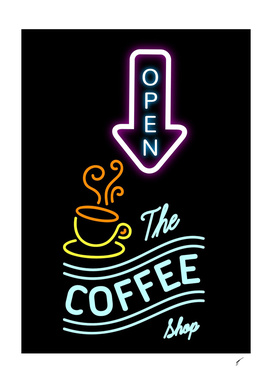 Coffee Poster 95 - Neon Coffee Shop