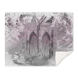 City Art Brooklyn Bridge in Detail | pink