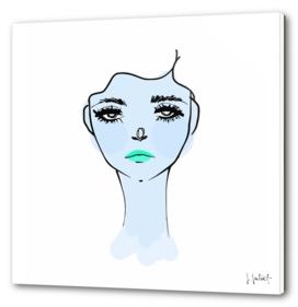 Blue Mood Portrait Illustration