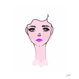 Pink Mood Portrait Illustration