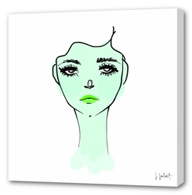 Green Mood Portrait Illustration