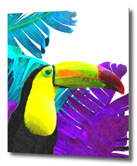 Toucan Palm Leaves Watercolor