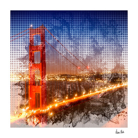 Graphic Art Golden Gate Bridge | watercolour style