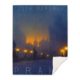 Prague, Czech Republic, vintage travel poster