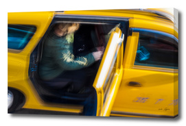 Taxi passenger's coming out