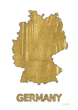 Germany map outline Aztec Gold watercolor