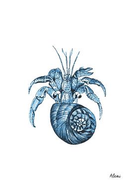 Blue Fish Nautical Illustration