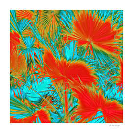 palm leaf texture abstract in orange and blue