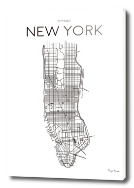 NEW YORK MINIMALIST MAP WHITE