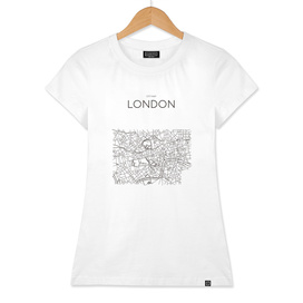 LONDON MINIMALIST MAP WHITE