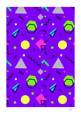 Mempfis trendy pattern on purple background. 80's-90's style