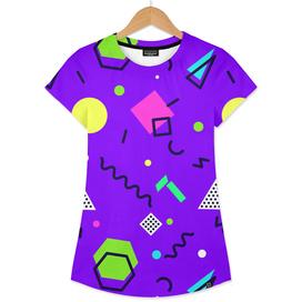 Mempfis trendy pattern on purple background. 80's-90's style