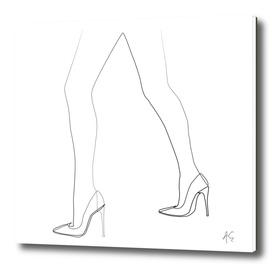 Minimal One Line Woman's Feet