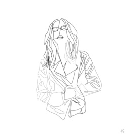 Minimal One Line Woman In Coat