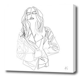 Minimal One Line Woman In Coat