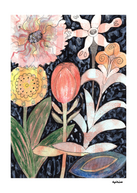 Mixed Flowers with Tulip on Black