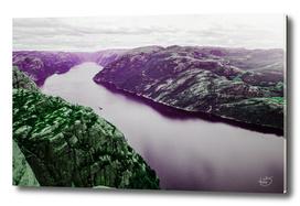 Violet fjord / mystical mountains