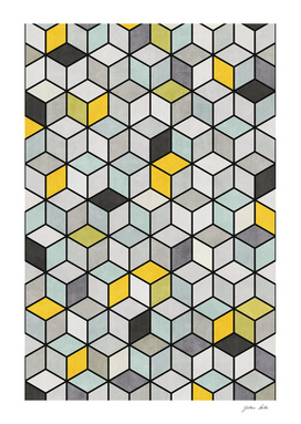 Colorful Hexagon Concrete Cubes - Yellow, Blue, Grey